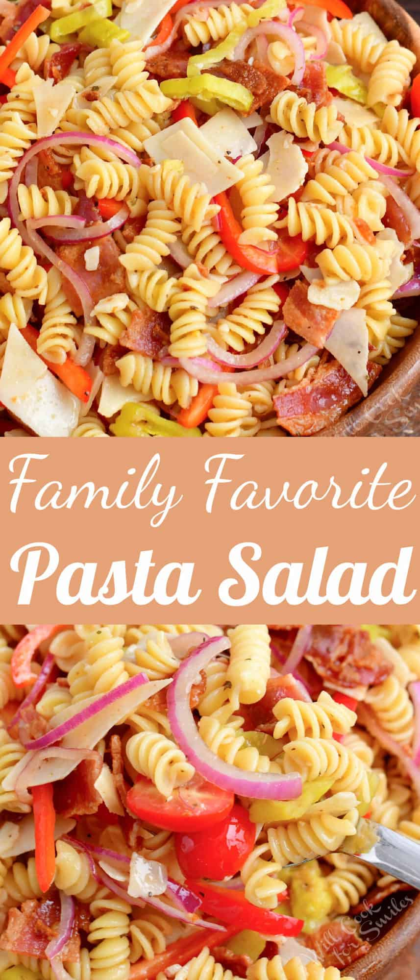 title collage of two close-up images of pasta salad and title in the middle