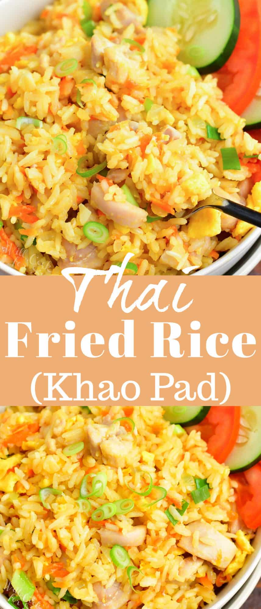 collage image of closeup view of fried rice and title in the middle