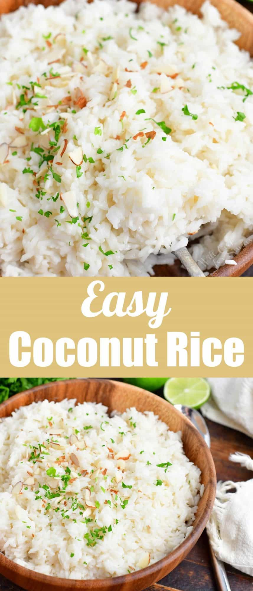 title collage of closeup view of coconut rice and rice in a wooden bowl