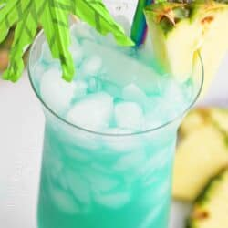 closeup view of blue Hawaii in a glass with umbrella