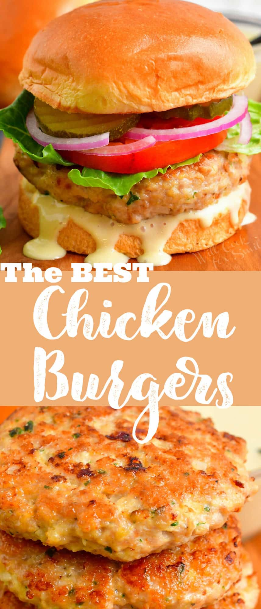 collage on two images of chicken burger and chicken patties with title