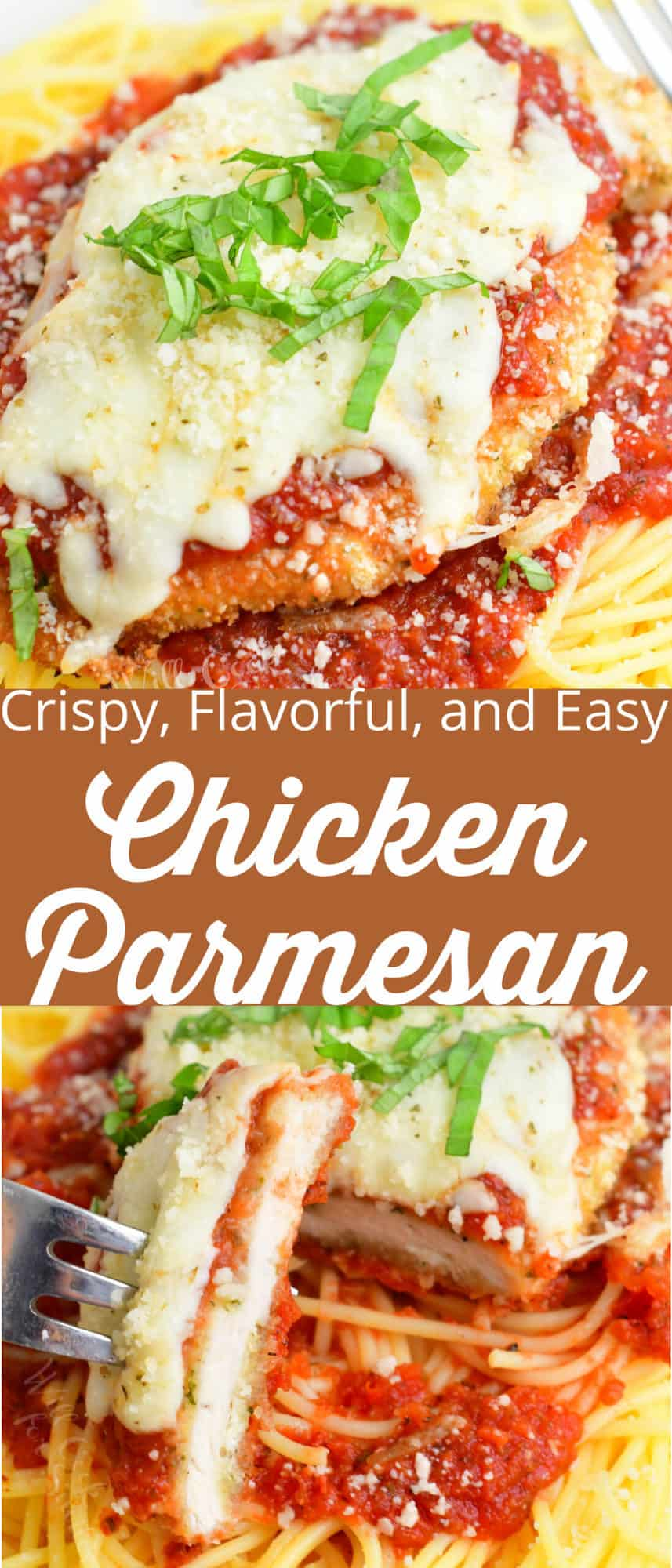 collage of two chicken parmesan images up close and slicing a piece with title