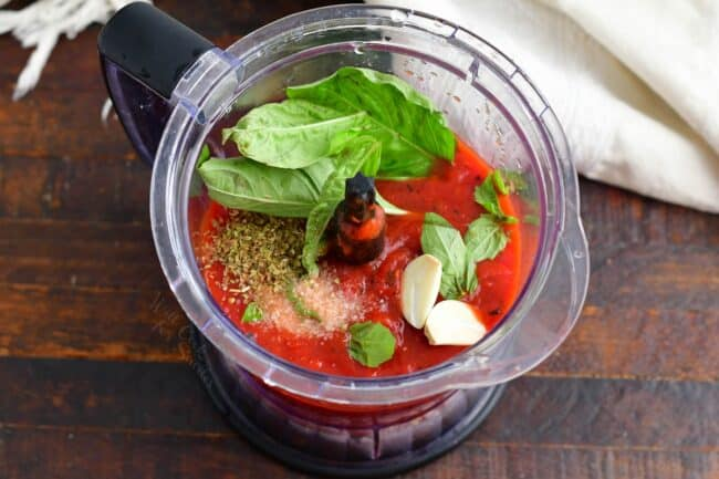 ingredients for easy marinara sauce in a blender