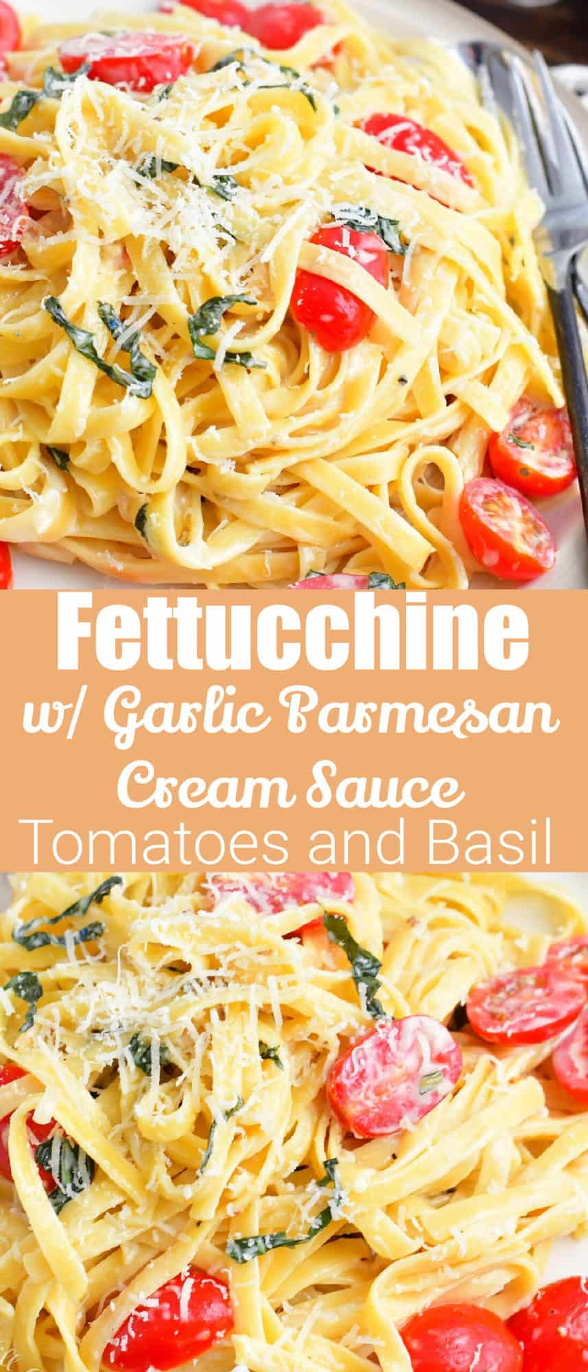 collage of 2 images of closeup creamy pasta with tomatoes and title in the middle
