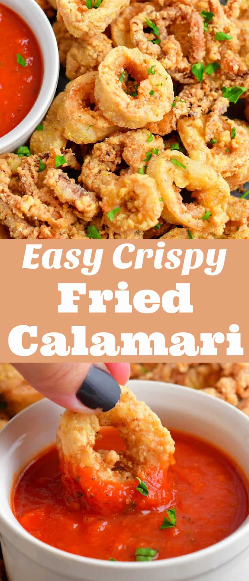 collage of two images of fried calamari and dipping into red sauce with title