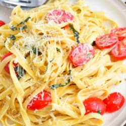 top view of creamy fettuccine on a plate with tomatoes basil and cheese