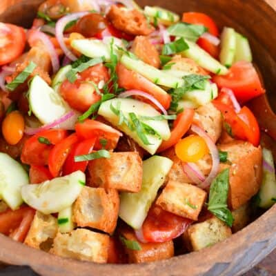 closeup view of panzanella in a wooden bowl