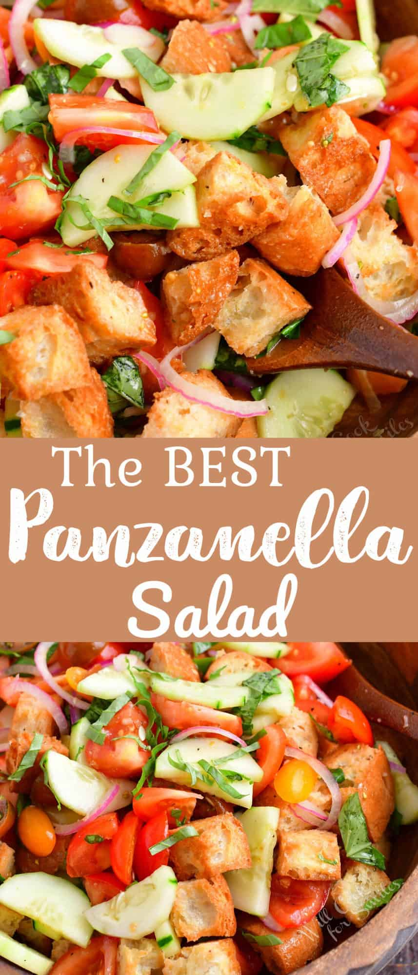 collage of two images of close up panzanella salad and salad in a bowl