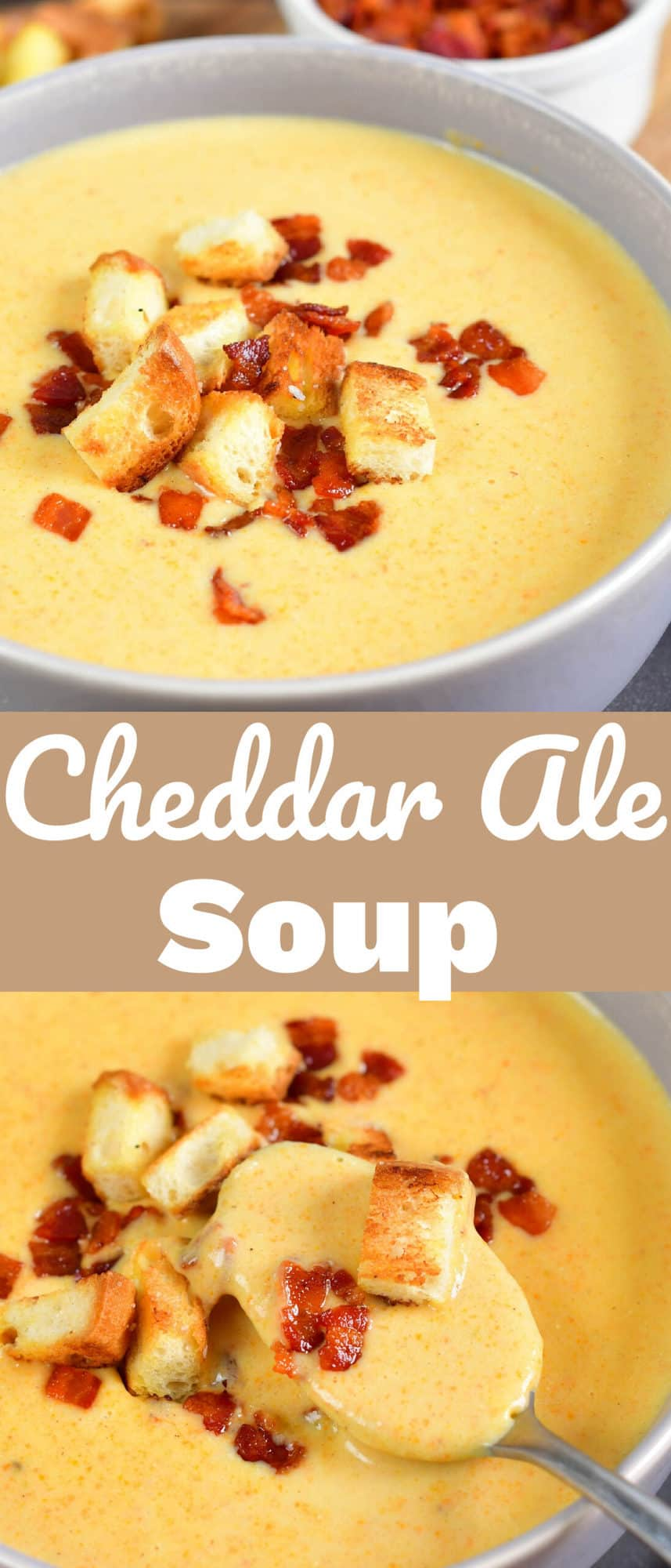 collage of close up cheddar ale soup images with title in the middle