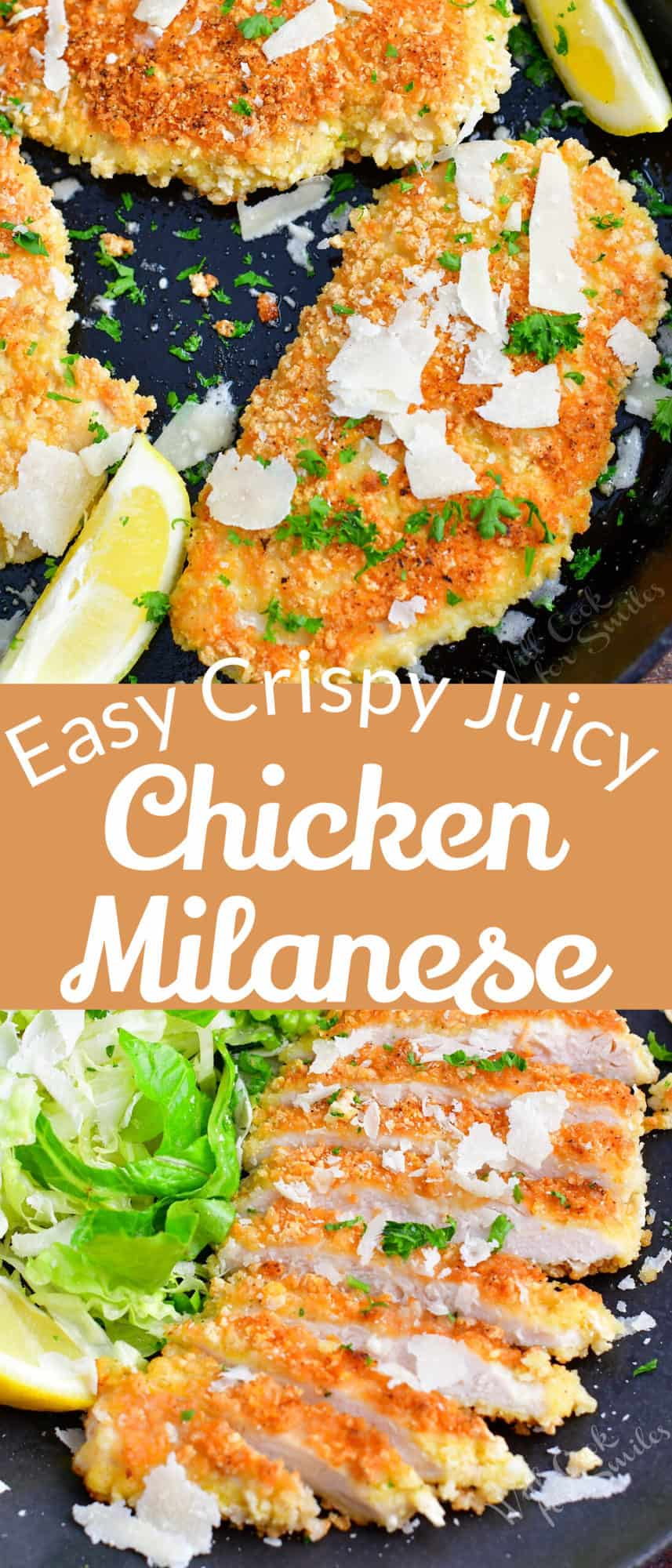 collage of two images of crispy chicken Milanese in a pan and sliced cooked chicken on a plate