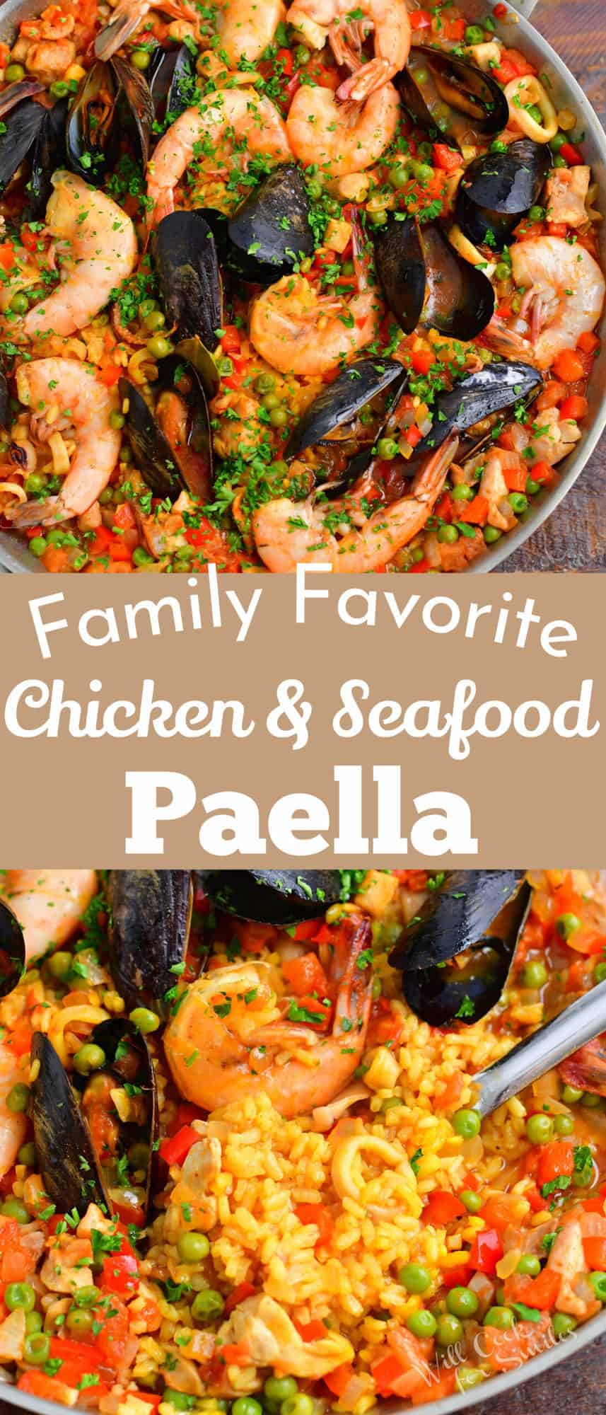 collage of two images of paella in a pan with title in a middle
