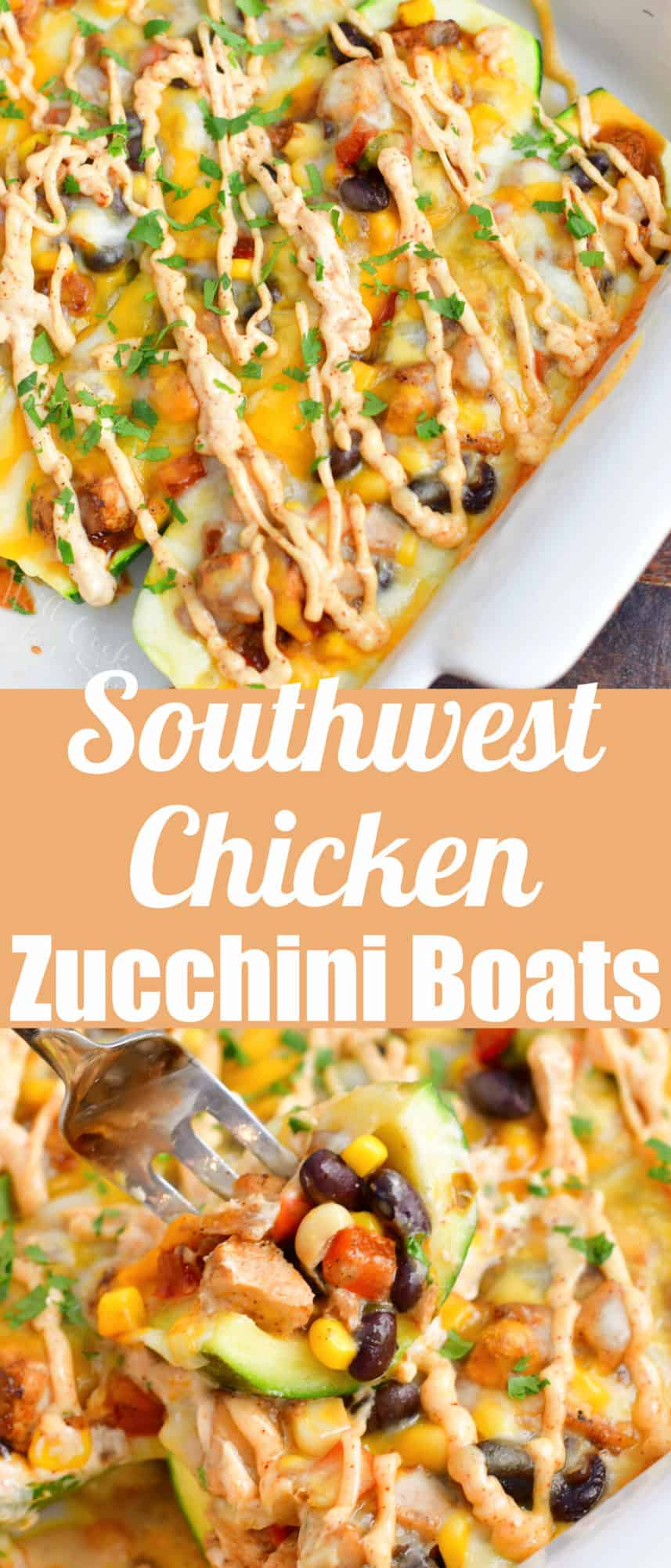 collage of two imags of zucchini boats in a baking dish and title