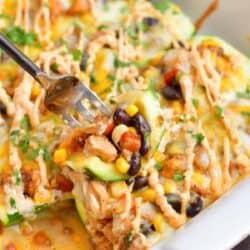closeup of cut zucchini boat piece on a fork