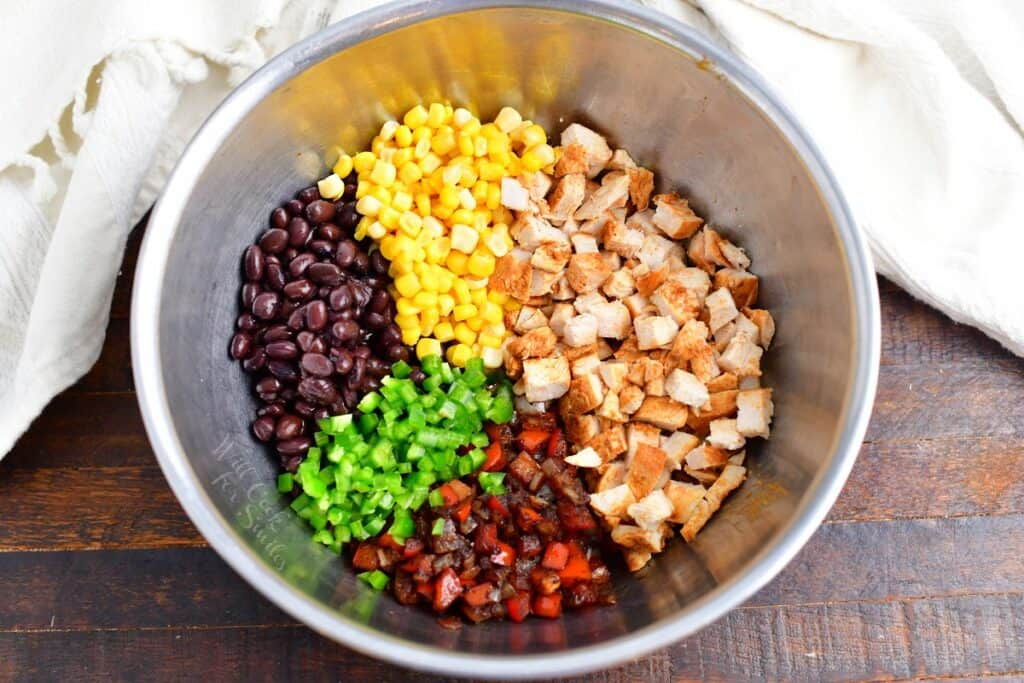 ingredients for the filling side by side in a mixing bowl
