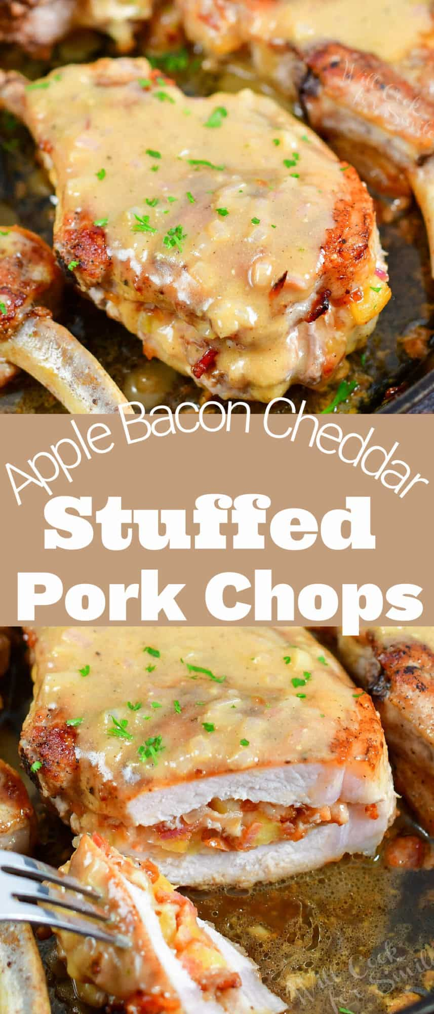 collage of closeup stuffed pork chop with sauce and sliced stuffed pork chop