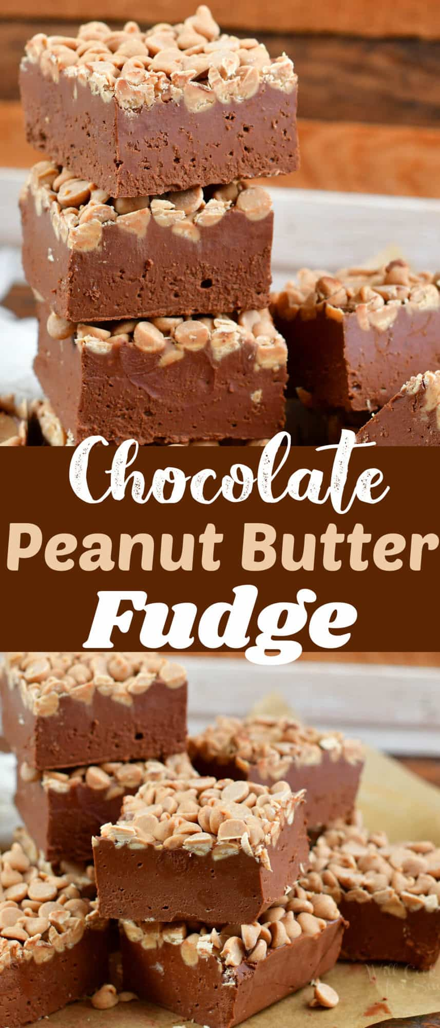 collage of two images of stacked peanut butter fudge close up