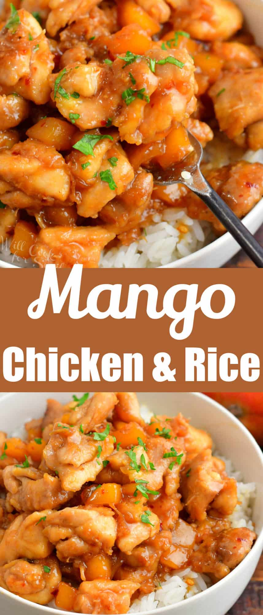 collage of two images of mango chicken in a bowl and close up on a fork