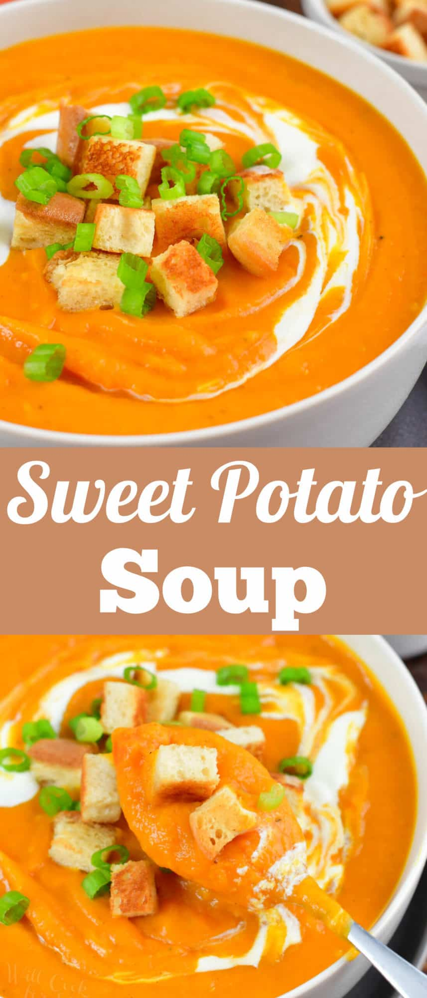 collage of two images of closeup sweet potato soup and spoonful of soup