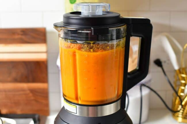 blending soup in a blender