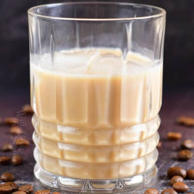 closeup of creamy light brown white Russian cocktail in a glass