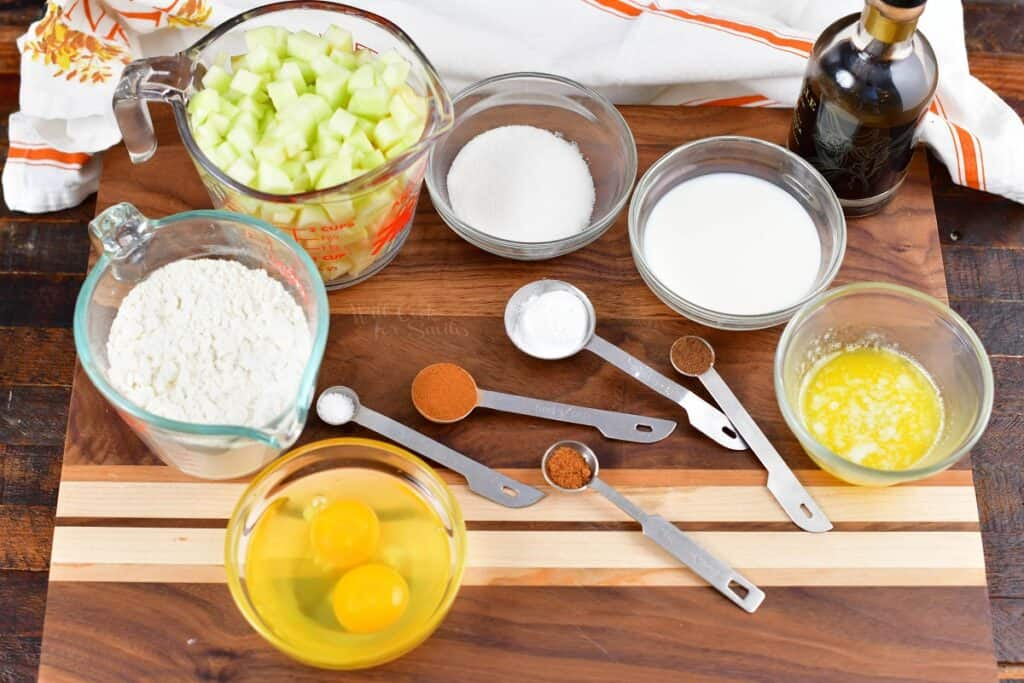 ingredients for apple fritters on the cutting board